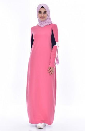 بي وست فستان رياضي بتصميم مُخطط 8186-03 لون وردي باهت 8186-03