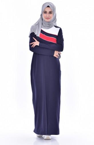Sport Kleid mit Patchwork 8190-02 Dunkelblau 8190-02