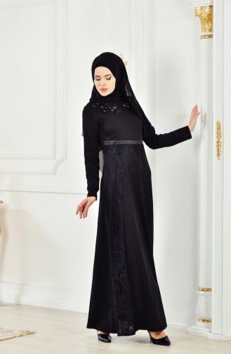 Çiçekli Dantelli Elbise 2942-01 Siyah