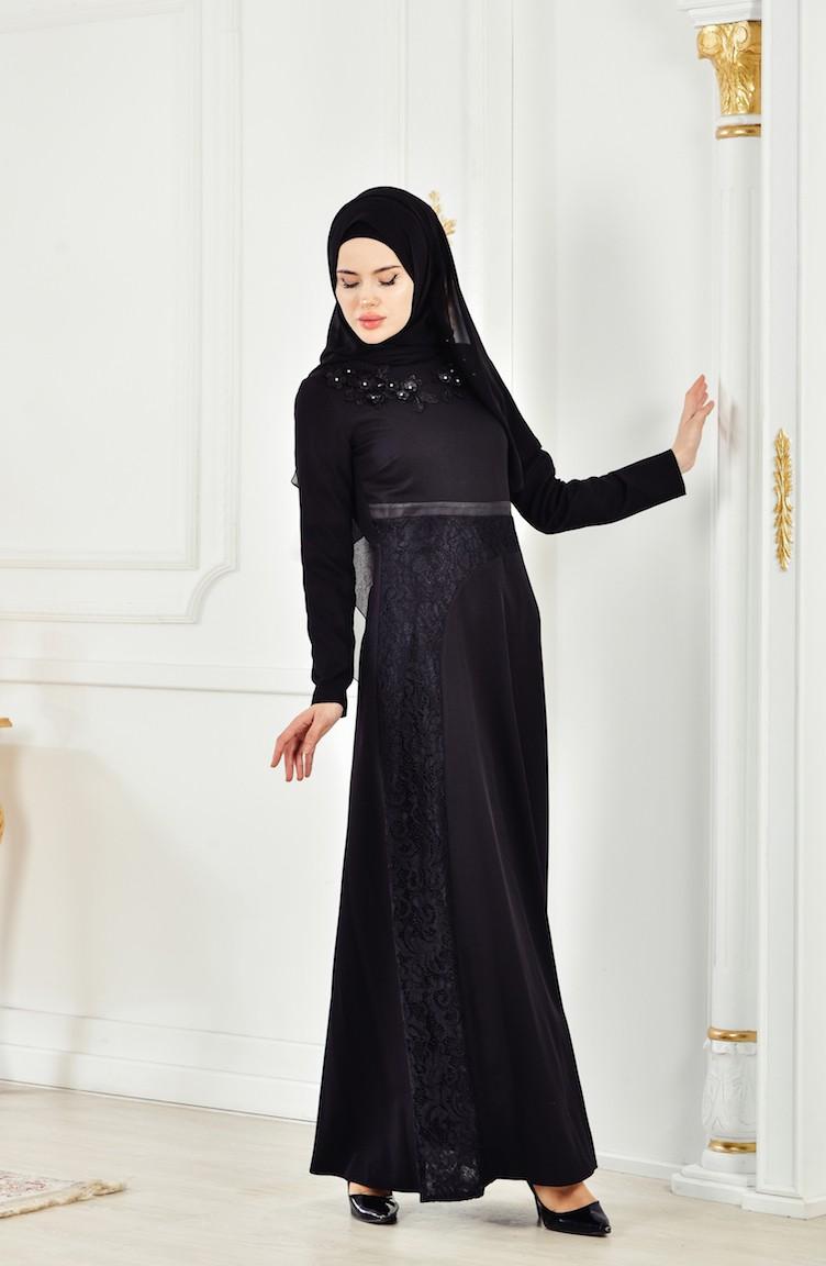 3a54fd052 Çiçekli Dantelli Elbise 2942-01 Siyah
