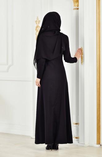 Robe Fleuries a Dentelle 2942-01 Noir 2942-01