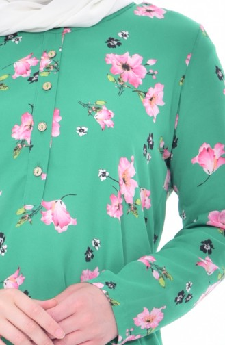 Çiçek Desenli Asimetrik Tunik 0215-01 Yeşil