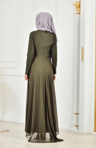 Stone Embroidered Evening Dress 52690-06 Khaki Green 52690-06