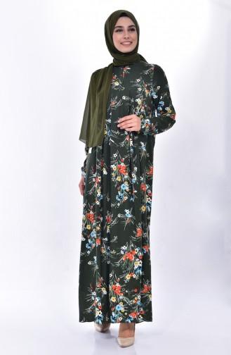 Robe a Motifs Fleurs 4021-01 Khaki 4021-01