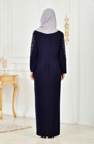 Robe Perlées Grande Taille 6146-04 Bleu Marine 6146-04