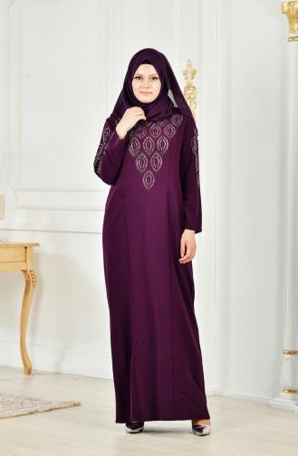 Übergröße Strassstein Bedrucktes Kleid 6145-02 Lila 6145-02