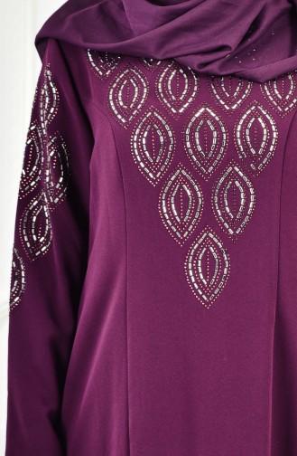 Robe İmprimée de Pierre Grande Taille 6145-02 Pourpre 6145-02
