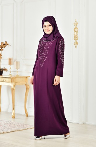 Large size Pearl Dress 6146-01 Purple 6146-01