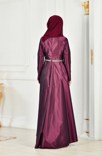 Kemerli Abiye Elbise 1007-01 Mor