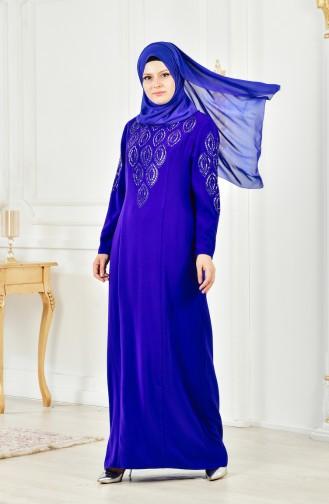 Übergröße Strassstein Bedrucktes Kleid 6145-04 Saks 6145-04