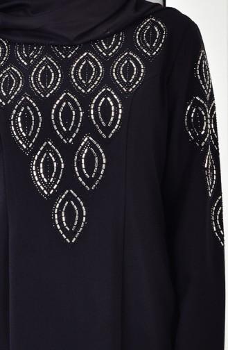 Übergröße Strassstein Bedrucktes Kleid 6145-05 Schwarz 6145-05