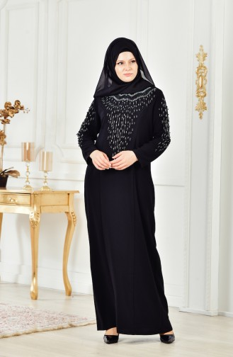 Übergröße Kleid mit Perlen 6146-02 Schwarz 6146-02