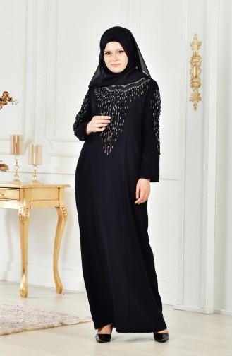 فستان بتفاصيل من اللؤلؤ بمقاسات كبيرة 6146-02 لون أسود 6146-02
