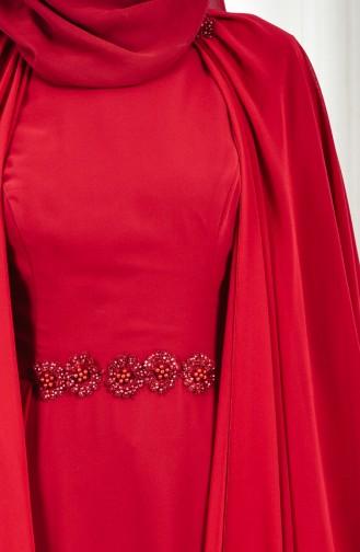Robe de Soirée Perlées 1002-01 Bordeaux 1002-01