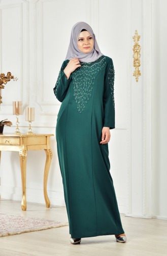Robe Perlées Grande Taille 6146-03 Vert emeraude 6146-03