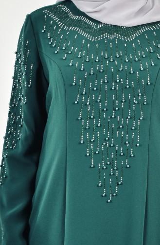 Übergröße Kleid mit Perlen 6146-03 Smaragdgrün 6146-03