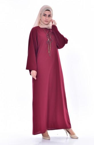 Kolyeli Elbise 7186-05 Bordo