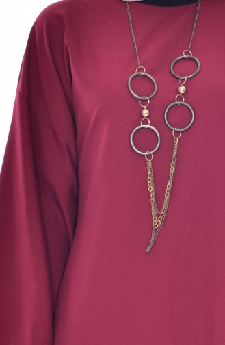 Kleid mit Halskette 7186-05 Weinrot 7186-05