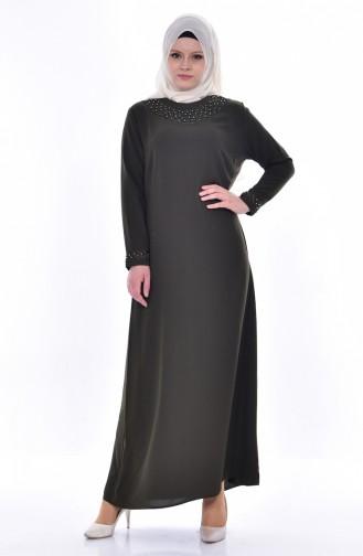 Übergröße Kleid mit Perlen 8113-03 Khaki 8113-03