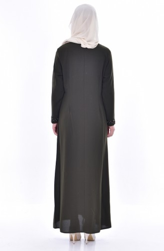 Robe Perlées Grande Taille 8113-03 Khaki 8113-03
