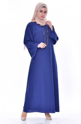 فستان بتصميم مُزين بقلادة7186-04 لون نيلي 7186-04