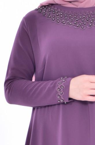 فستان بتفاصيل من اللؤلؤ بمقاسات كبيرة8113-01 لون وردي باهت داكن 8113-01