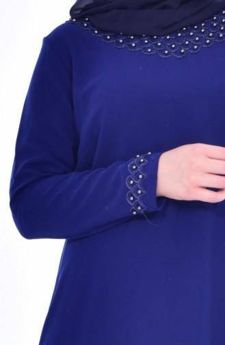 Robe Perlées Grande Taille 8113-06 Bleu Roi 8113-06