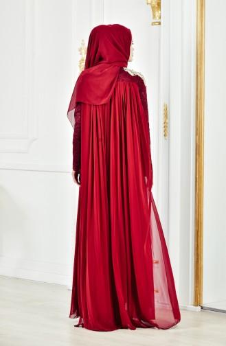 Dantelli Abiye Elbise 8110-01 Bordo 8110-01