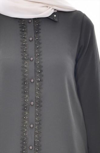 Perlen Bluse mit Spitzen 4063A-01 Khaki 4063A-01