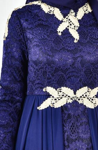 Dantelli Abiye Elbise 8110-03 Lacivert 8110-03