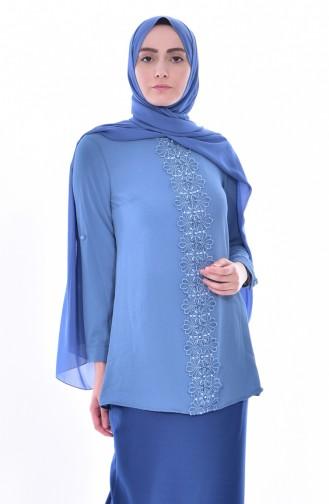 Bluse mit Spitzen 4066-05 Blau 4066-05