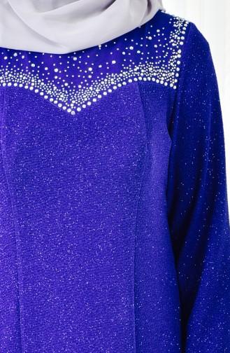 فستان سهرة بتصميم مُطبع باحجار لامعة بمقاس كبير 6151-01 لون ازرق 6151-01
