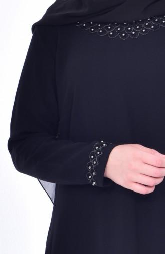 فستان بتفاصيل من اللؤلؤ بمقاسات كبيرة 8113-04لون أسود 8113-04