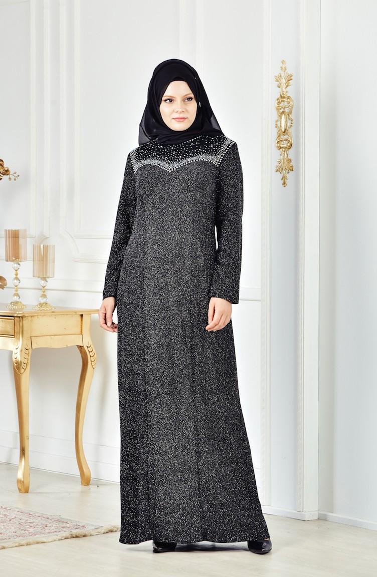 23fb9e34852 Plus Size Stone Printed Evening Dress 6151-04 Black Silver 6151-04