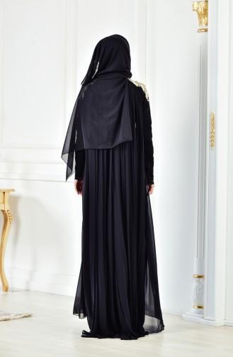 Dantelli Abiye Elbise 8110-04 Siyah 8110-04