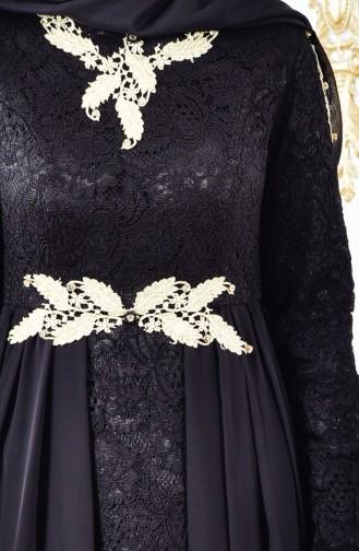 Dantelli Abiye Elbise 8110-04 Siyah