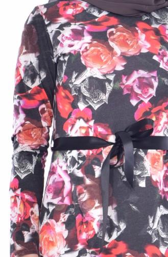 Çiçek Desenli Kuşaklı Elbise 6061B-01 Siyah