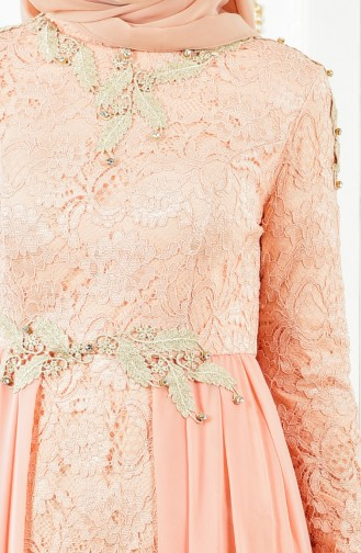 Lace Evening Dress 8110-05 Salmon 8110-05