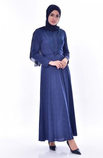 فستان بحزام خصر وتفاصيل من الدانتيل 1185-01 لون نيلي 1185-01