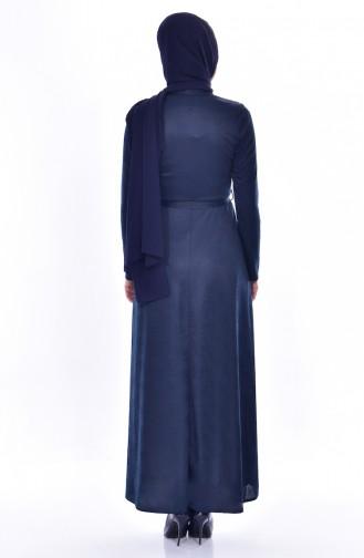 Robe a Dentelle et Ceinture 1185-03 Bleu Marine 1185-03