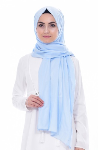شال قطن بتصميم سادة 60065-03 لون أزرق فاتح 03