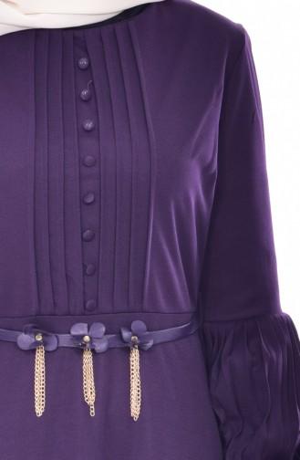 Robe Plissée a Ceinture 0521-04 Pourpre 0521-04
