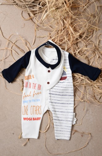 Baby Patterned 2 Pcs Overalls WG3041-02 Navy Blue 3041-02