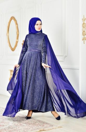 Simli Abiye Elbise 6405-01 İndigo
