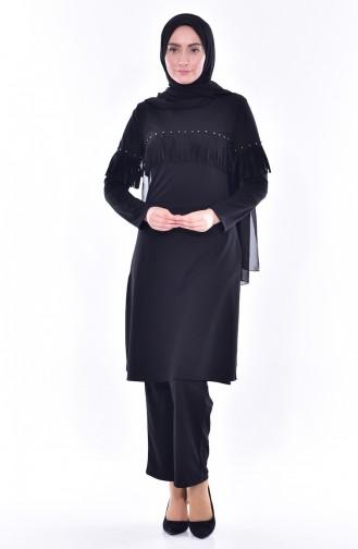 Tunik Pantolon İkili Takım 4467-01 Siyah 4467-01