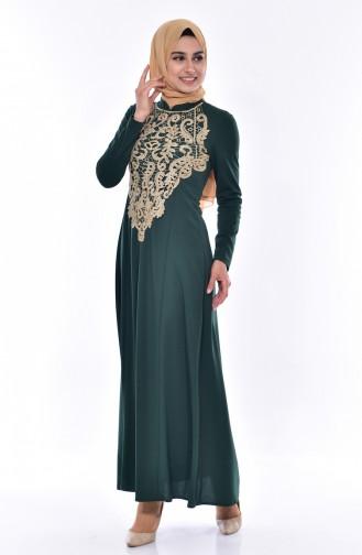 Dantelli Elbise 4466-02 Zümrüt Yeşili 4466-02