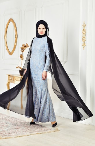 Lacy Evening Dress 0403-03 Baby Blue 0403-03