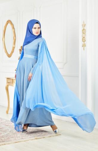 فستان سهرة بتفاصيل لامعة 6405-02 لون ازرق فاتح 6405-02