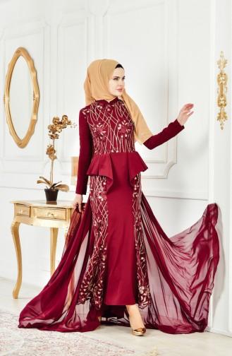فستان يتميز بتفاصيل من الترتر 6353-03 لون خمري 6353-03