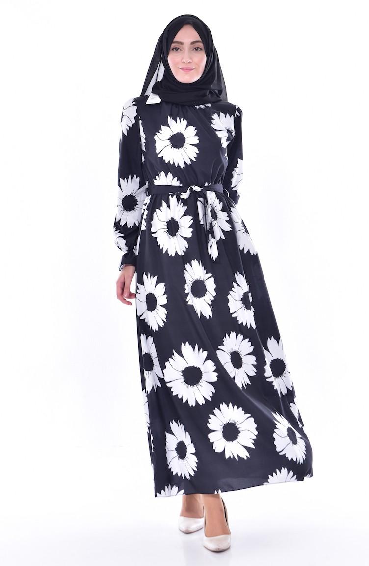 9fa9b0e5bf8ac Çiçekli Elbise 4149-01 Siyah Beyaz 4149-01